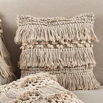 Eider & Ivory Clarkston Moroccan Wedding Blanket Fringe Cotton Throw Pillow Eider & Ivory