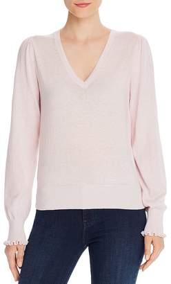 Rebecca Taylor Ruffle-Cuff V-Neck Sweater - 100% Exclusive
