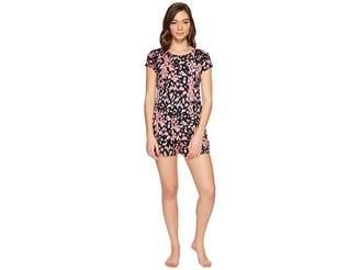 Midnight by Carole Hochman Modal Shorty Pajama with Washed Satin Women's Pajama Sets