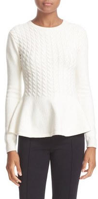 Women's Ted Baker London 'Mereda' Cable Knit Peplum Sweater $185 thestylecure.com