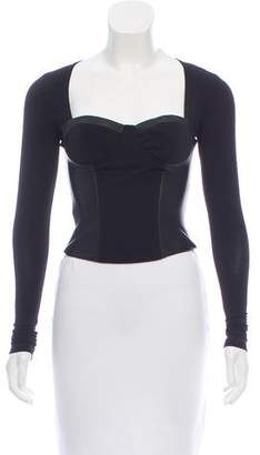 Alice + Olivia Leather-Accented Bustier Top