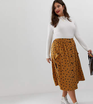 cd6dbd6cbe7 Asos DESIGN Curve button front midi skirt in polka dot with oversized  pockets