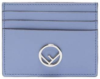 Fendi Blue Leather Cardholder with Silver Logo