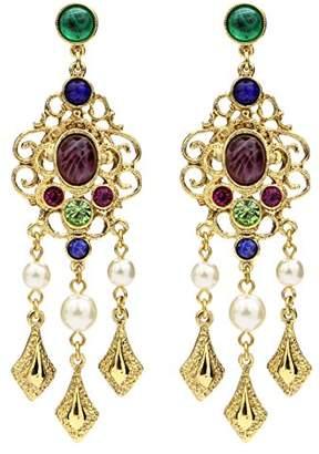 Crystal Pearl Ben-Amun Jewelry Victoria Multicolor Lattice Drop Post Earrings