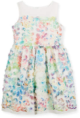Charabia Watercolor Floral Sleeveless Dress, Size 2-4