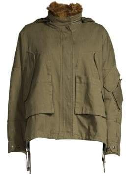 Yves Salomon Army by Oversize Fur-Trimmed Parka