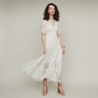 Maje Long Swiss dot dress with daisy lace