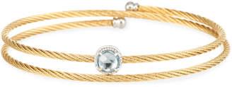 Alor Yellow Cable Single-Wrap Bangle Bracelet with Blue Topaz