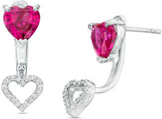 Zales 6.0mm Heart-Shaped Lab-Created Ruby and 1/10 CT. T.W. Diamond Stud Earrings with Drop Jackets in Sterling Silver