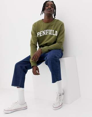 Penfield Stowe collegiate logo crewneck sweatshirt in green