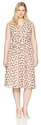 Anne Klein Women's Plus Size V-Neck Midi Dress