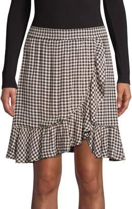 Ganni Ruffled Gingham Mini A-Line Skirt