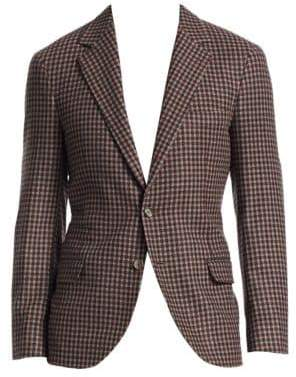 Brunello Cucinelli Small Check Wool & Cashmere Blazer