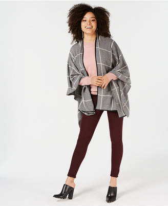 Charter Club Pure Cashmere Grid Ruana Sweater, Created for Macy's