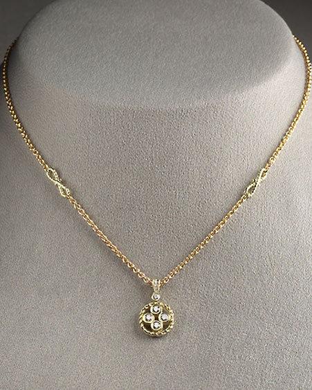 Euphoria New York Signature Gold Diamond Circle-Pendant Necklace