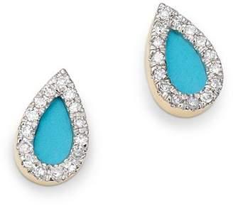 Adina 14K Yellow Gold Turquoise & Diamond Teardrop Stud Earrings