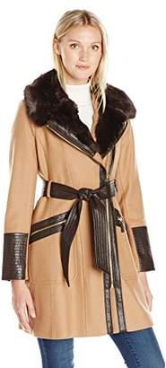 Via Spiga Women's Kate Wool-Blend Coat with Faux-Fur Collar