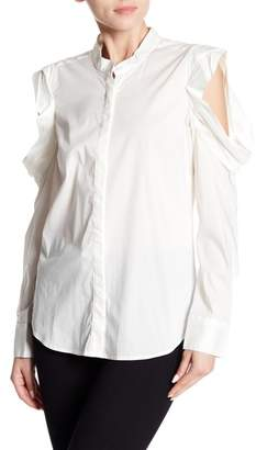 Bishop + Young Ruffle Cold Shoulder Poplin Top