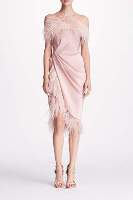 Marchesa Feather Cocktail Dress