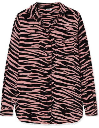 Ganni Lindale Zebra-print Crepe Shirt - Pink