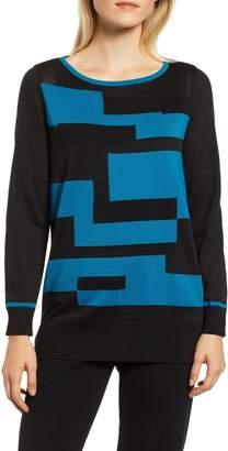 Ming Wang Colorblock Cotton Blend Tunic Sweater