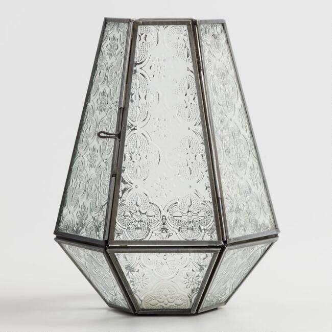 Clear Embossed Glass Hurricane Candleholder