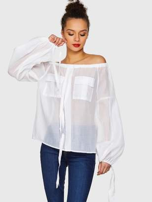 a6b0017daf Shein Drawstring Detail Off Shoulder Flap Pocket Sheer Blouse