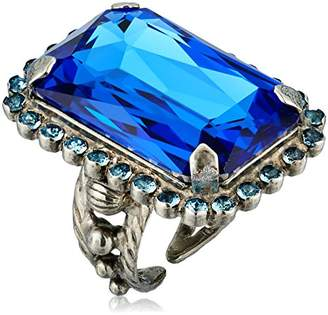 Sorrelli Ultramarine Luxurious Emerald-Cut Cocktail Adjustable Ring