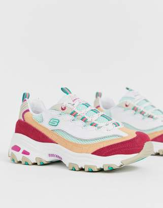 dbf4145c101 Skechers D Lite chunky trainers in white and pink