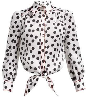 Carolina Herrera Polka Dot Print Silk Organza Blouse - Womens - White Black