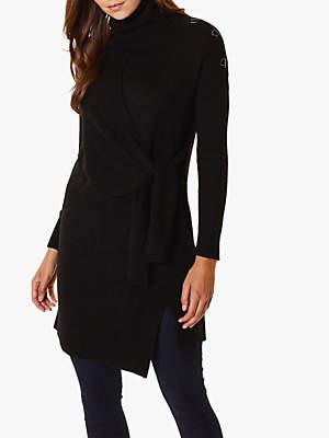 Karen Millen Roll Neck D-Ring Shoulder Tunic, Black