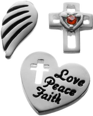 "Blue La Rue Crystal Silver-Plated Wing, ""Love, Peace, Faith"" Heart & Openwork Cross Charm Set"