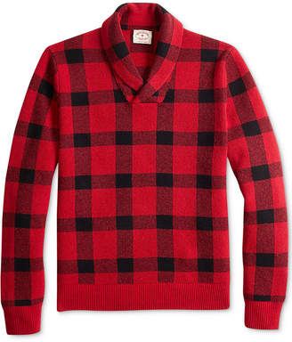 Brooks Brothers Men Red Fleece Buffalo Plaid Shawl-Collar Sweater
