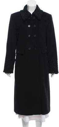 Calvin Klein Collection Persian Lamb-Trimmed Cashmere Coat