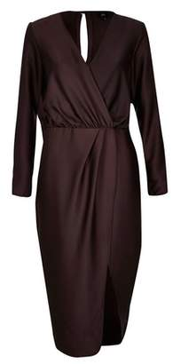 Next Womens River Island Wrap Long Sleeve Satin Dress