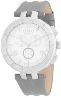 Versace Stainless Steel Leather Strap Watch