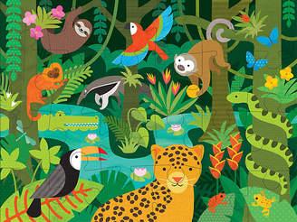 One Kings Lane Wild Rainforest Floor Puzzle - Green