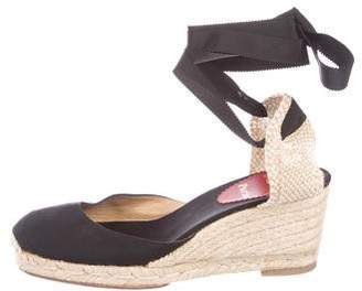Christian Louboutin Round-Toe Tie-Up Wedges