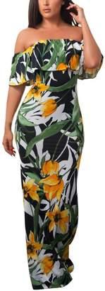 Equipment Yang-Yi Clearance, 2018 Hot Women Floral Long Maxi Off The Shoulder Dress Evening Party Summer Beach Sundress (, US M)