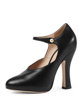 Gucci Lesley Leather Mary Jane Pump, Black $850 thestylecure.com
