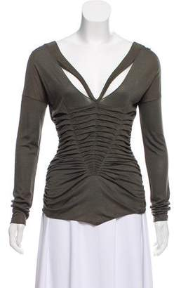 Gucci Ruched Long Sleeve Top