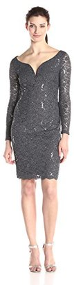 Marina Women's Short Dress with Sleeve In Cording and Hem $129 thestylecure.com