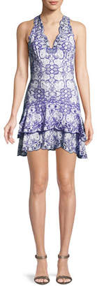 Jonathan Simkhai V-Neck Sleeveless Scallop Tiered Mini Dress
