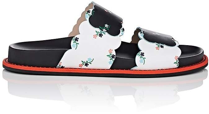 Fendi Women's Floral Leather Slide Sandals