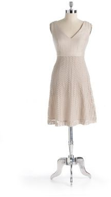 Nine West Empire Dress With Lace Skirt