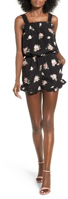 Women's Mimi Chica Crochet Trim Print Smocked Romper $39 thestylecure.com