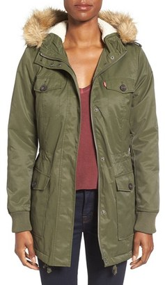 Levi's ® Water Resistant Parka with Faux Fur Trim Hood $180 thestylecure.com