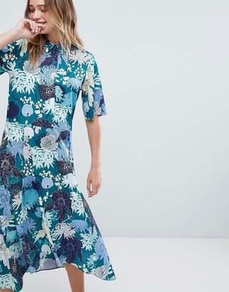 Monki Floral Print Midi Button Up Dress