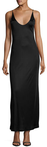 Alexander Wang T by Alexander Wang Sleeveless Strappy Satin Maxi Dress, Black