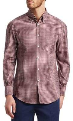 Brunello Cucinelli Windowpane Plaid Cotton Button-Down Shirt